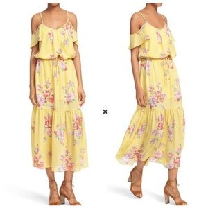 Joie Annada Silk Yellow Floral Ruffle Maxi Dress